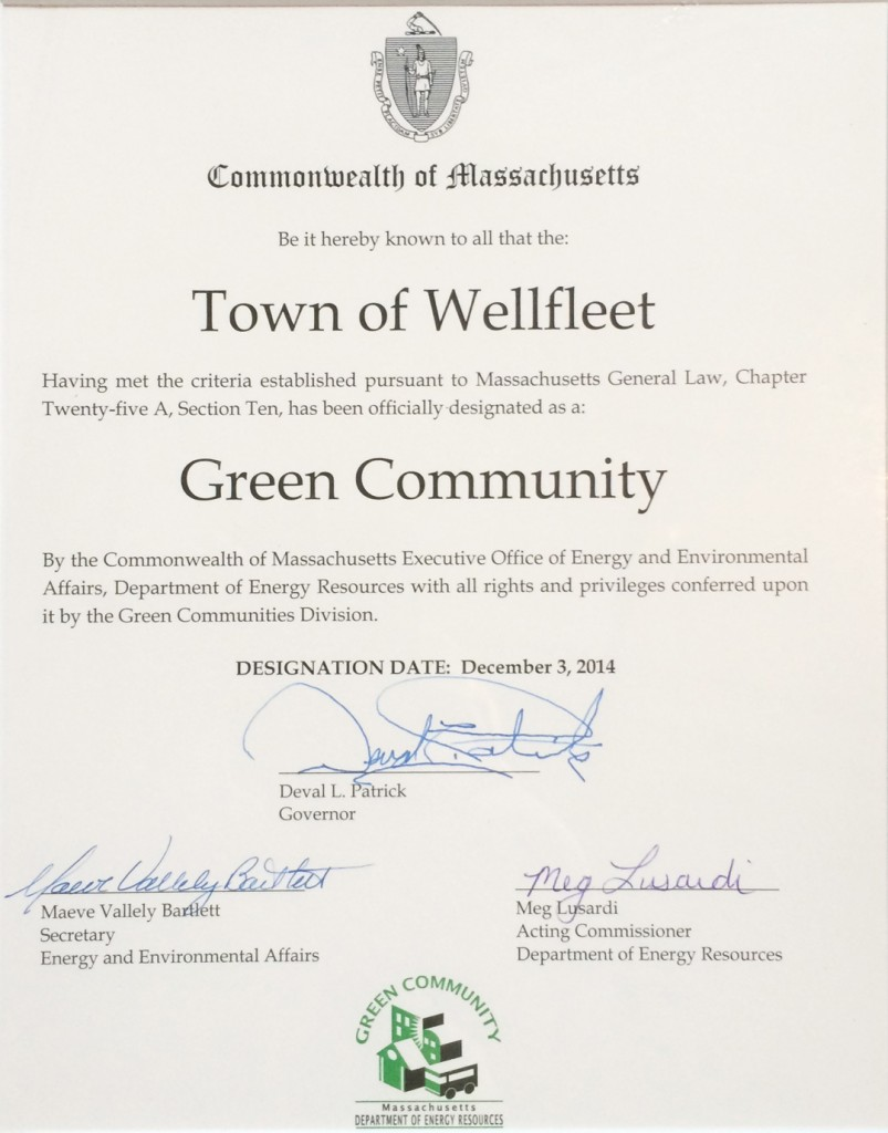 Wellfleet obtains Green Community Status
