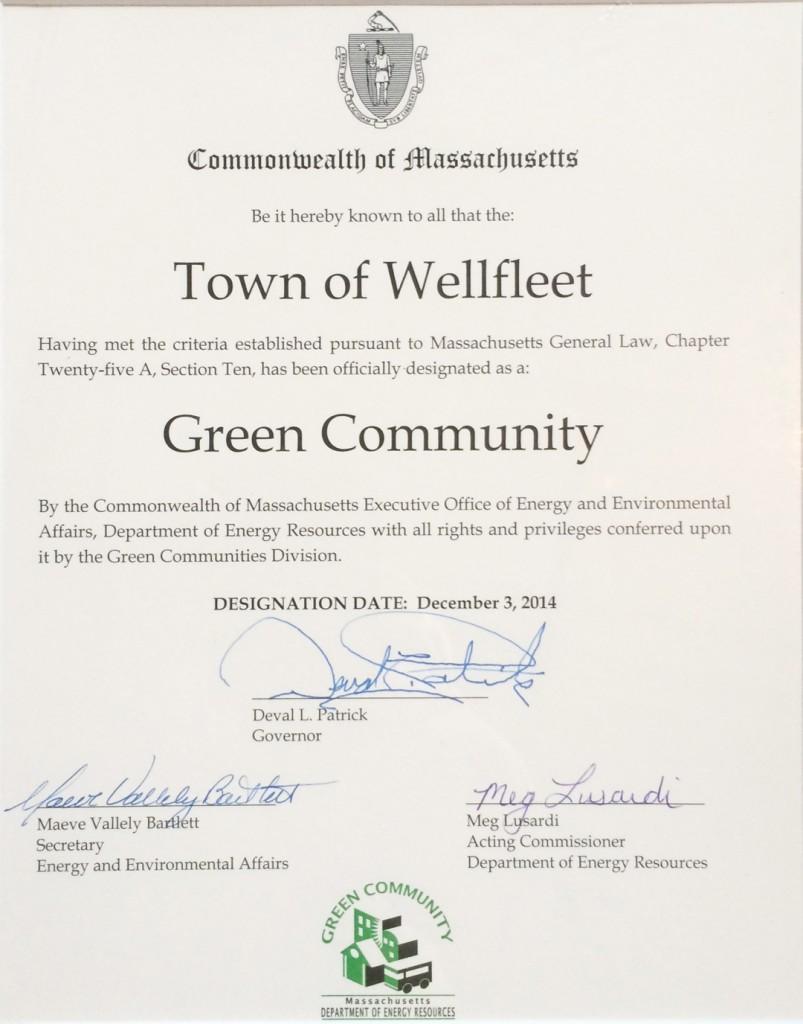 Wellfleet obtains Green Community Status